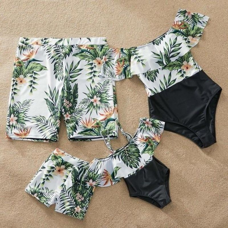 Matching Family Floral Leaves Swimsuit Mother Daughter Bathing Suits