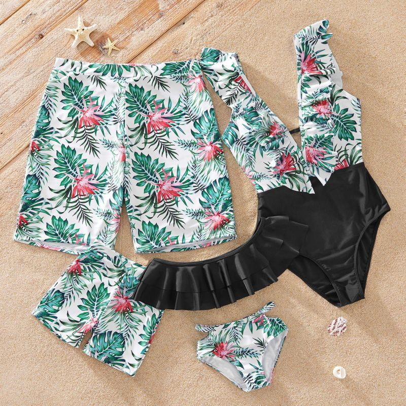 Matching Family Swimsuit Floral and Leaf Print Mommy and Me Bath Suits