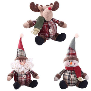 3PCS Christmas Plush Decorations Stuffed Elk Santa Snowman Decoration Dolls