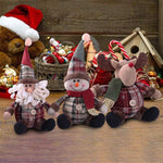 Load image into Gallery viewer, 3PCS Christmas Plush Decorations Stuffed Elk Santa Snowman Decoration Dolls