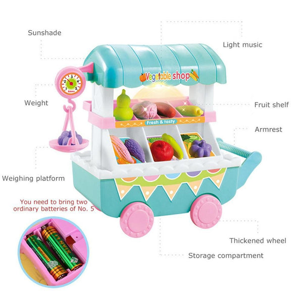 Children Toy Trolley Fruit Vegetables Shop Simulation Small Cart Pretend Playset - ChildAngle