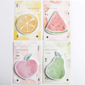 4 Pack Memo Pads Cute Fruit Watermelon Sticky Notes (30 Sheets/Pack)