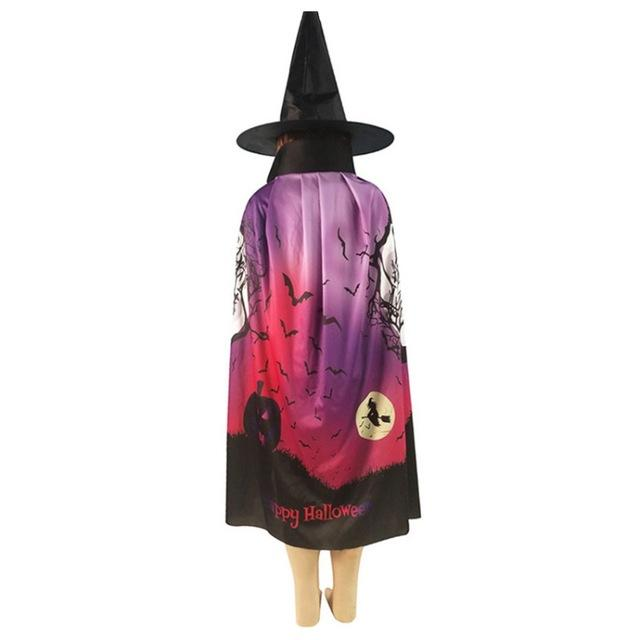 Kids Halloween Costumes Witch Cloak with Hat Cape Pumpkin Skull Children Teens