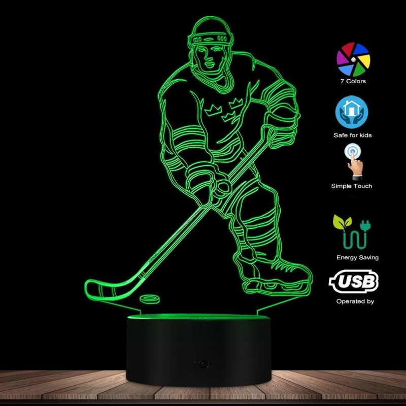 Hockey Player with Ball 3D Illusion Lamp
