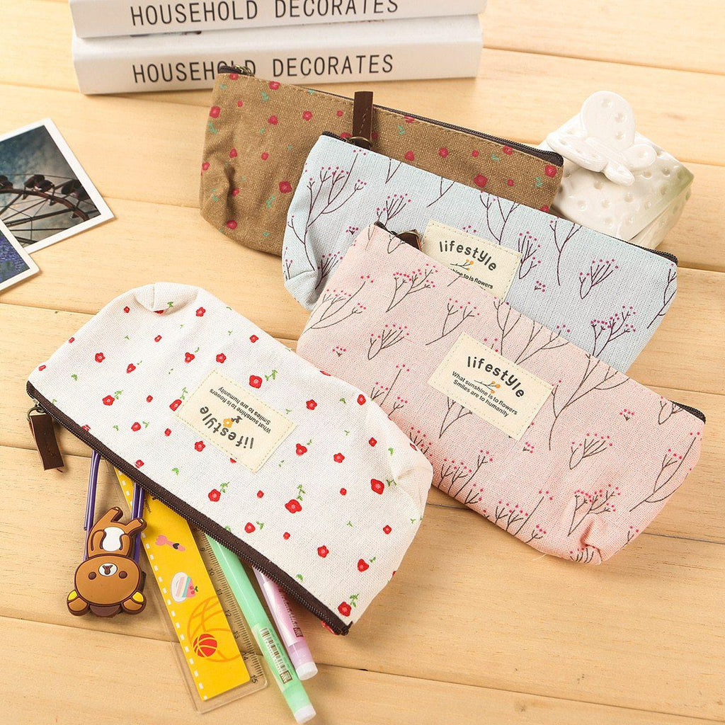 Flower Zipper Pencil Case Floral Canvas Pen Bags - ChildAngle
