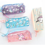 Load image into Gallery viewer, Transparent Unicorn Pencil Case Big Zipper - ChildAngle