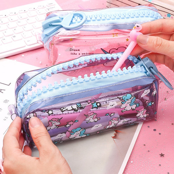 Transparent Unicorn Pencil Case Big Zipper - ChildAngle