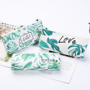 Leaf Print Pencil Case for Girls Cute PU Leather Pen Bag School Stationery Supplies - ChildAngle