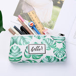 Load image into Gallery viewer, Leaf Print Pencil Case for Girls Cute PU Leather Pen Bag School Stationery Supplies - ChildAngle