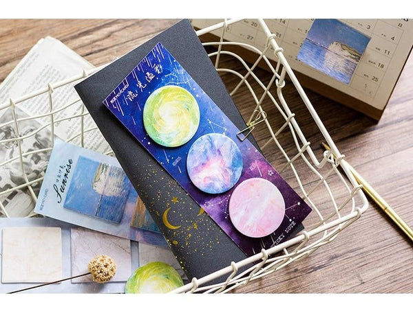 3 Lot Galaxy Sticky Notes Painting Memo Pad Post - ChildAngle