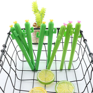 2PCS Cute Green Cactus Flower Gel Pen - ChildAngle