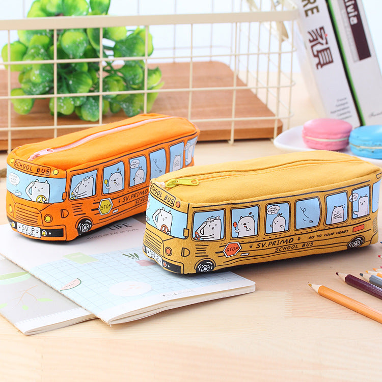 Large Capacity School Bus Pencil Case Canvas Pencil Bag - ChildAngle