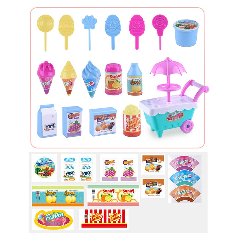 1 Set Children Trolley Mini Simulation Candy Ice Cream Trolley Play House Toy - ChildAngle
