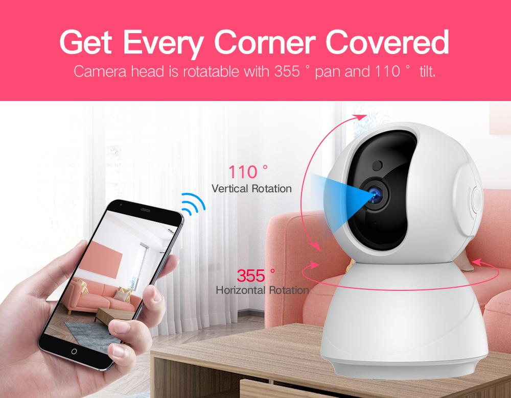 Baby Monitor 1080P Night Vision 355° Covered WiFi Camera with SD Card - ChildAngle