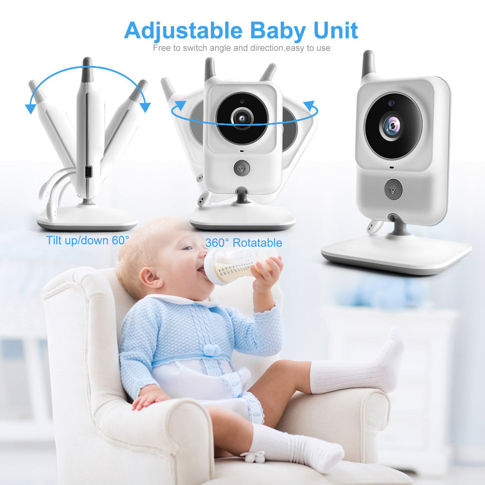 Video Baby Monitors 3.2 Inch LCD Wireless Square Two Way Audio Night Baby Camera