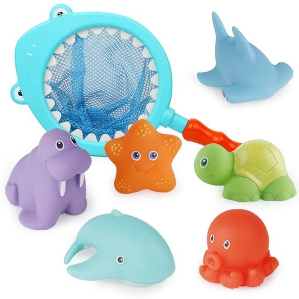 7 PCS Bath Toys for 3 Year Olds Children Water Toys Soft Rubber Shark Sea Animals