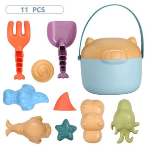 Beach Toys for Kids 8-16 PCS Sand Toys for Children Silicone Beach Bucket