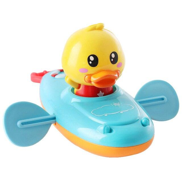 Baby Bath Toy Rowing Boat Duck Floating Water Wind-up Chain - ChildAngle