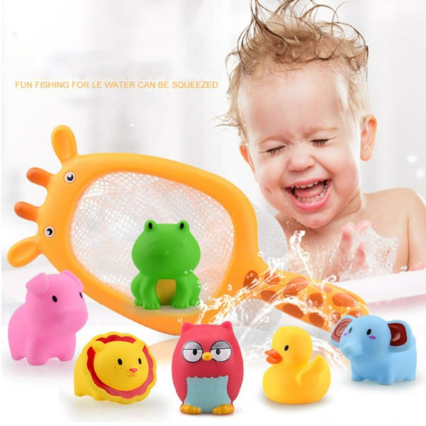Cool Bath Toys Fishing Net 7 PCS Animal Water Toys Sets