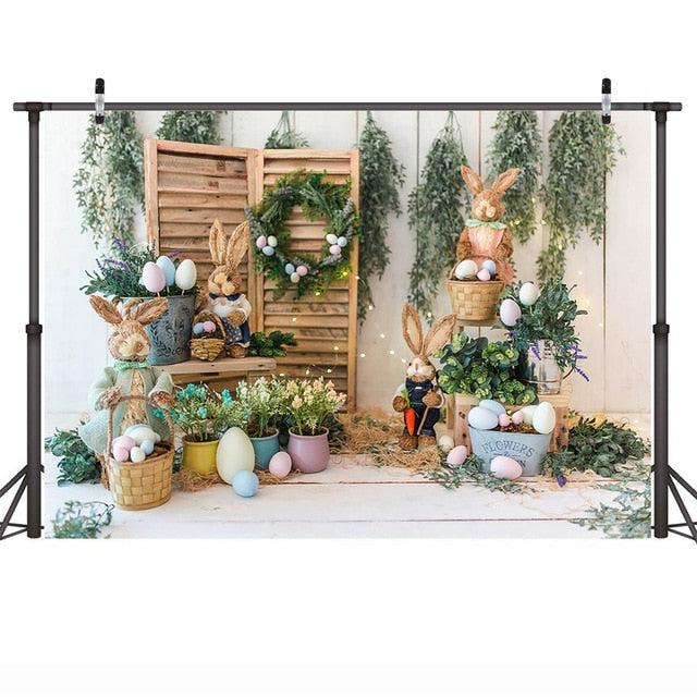 Easter Backdrop Rabbit Eggs Bunny Portrait Photography Background Flowers Green Farm