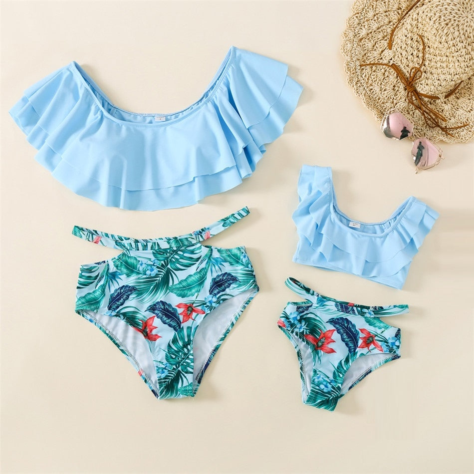 Mommy and Me Swimsuit Blue Ruffle Floral Bikini Sets Daughter Mother