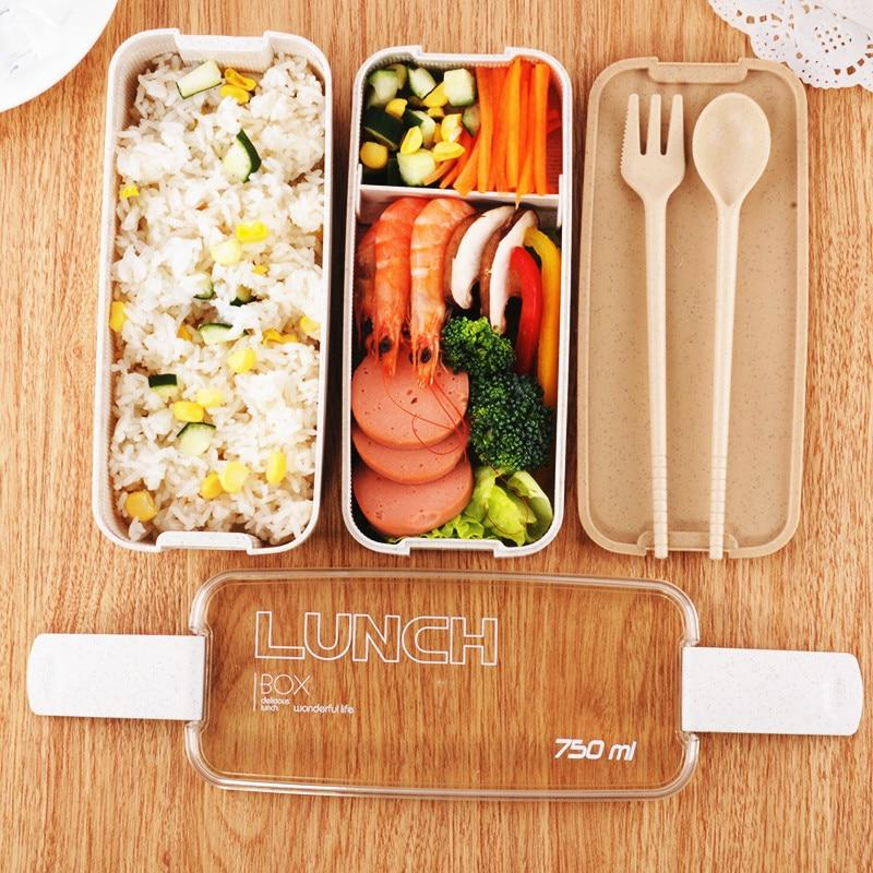 750ml 2 Tiers Layer Wheat Straw Bento Boxes - ChildAngle