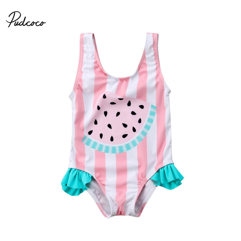 Striped Watermelon One Piece Swimwear - ChildAngle