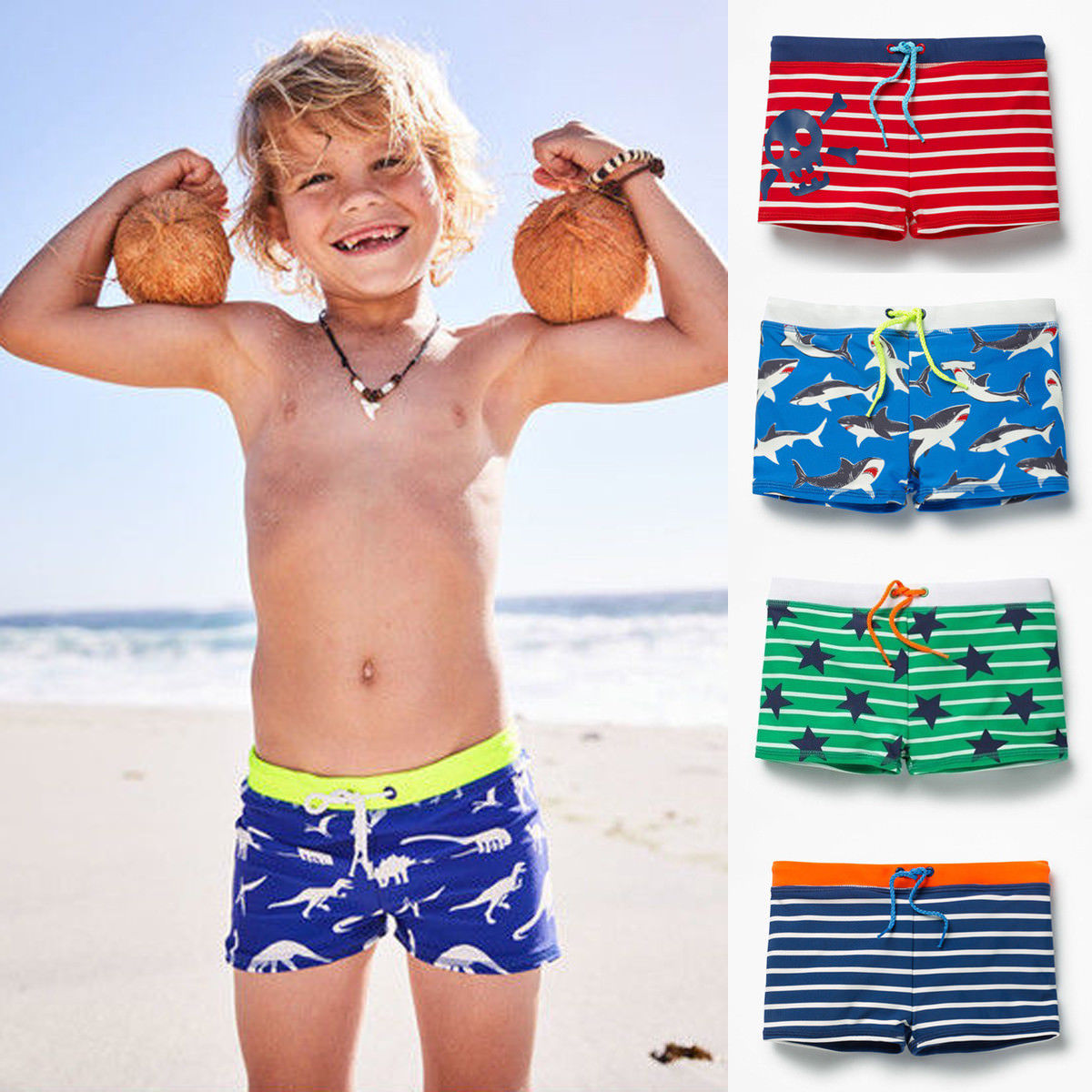 Toddler Boy Blue Striped Kid Swimming Shorts Swimwear - ChildAngle