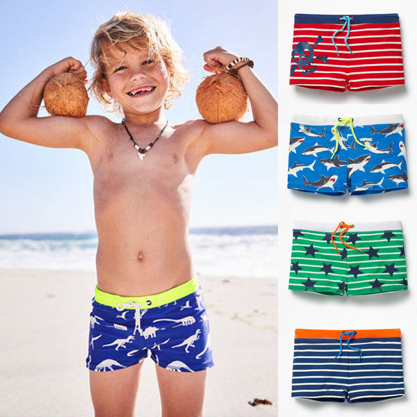 Toddler Boy Shark Printing Pattern Kid Swimming Shorts - ChildAngle