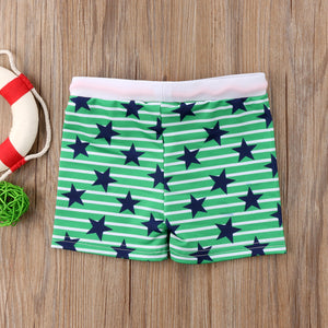 Toddler Boy Star Printing Kid Striped Swimming Shorts - ChildAngle