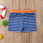 Load image into Gallery viewer, Toddler Boy Blue Striped Kid Swimming Shorts Swimwear - ChildAngle