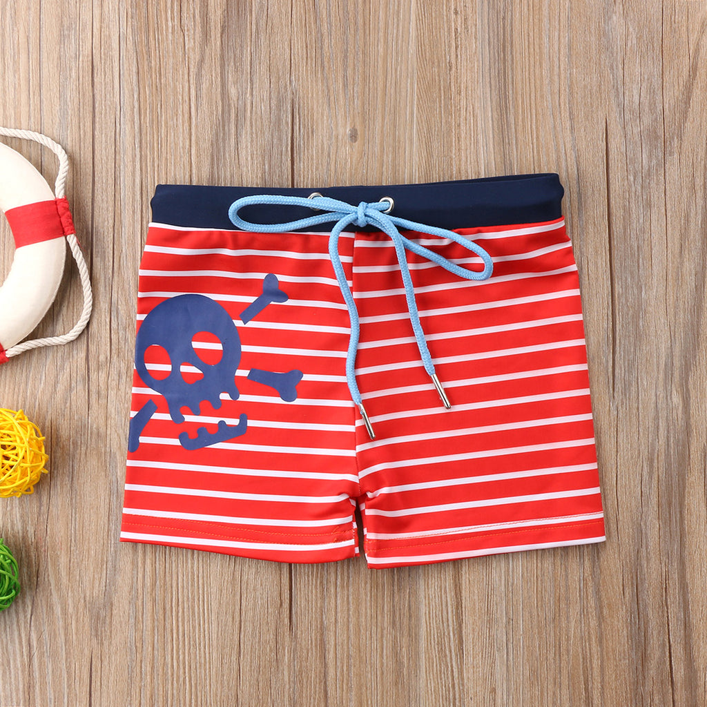 Toddler Boy Skull Pattern Kid Striped Swimming Shorts - ChildAngle