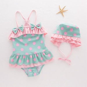 Girls Polka Dot One Piece Swimwear with Cap - ChildAngle