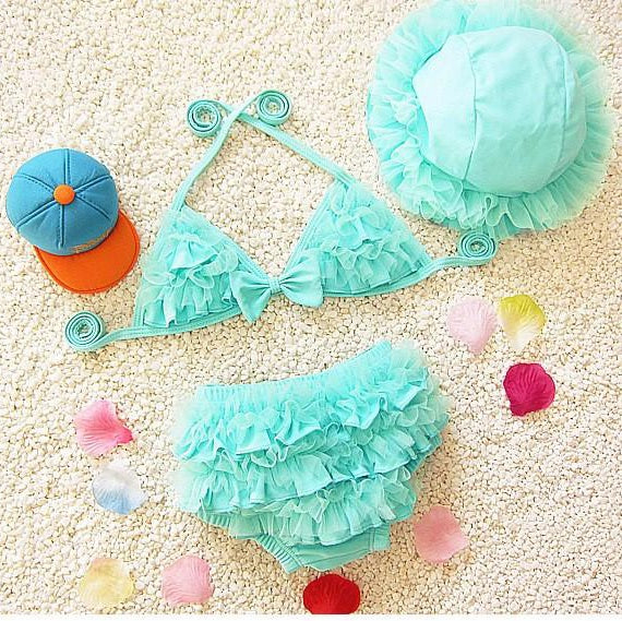 Girls 3 Pieces Ruffle Bikini Sets with Cap - ChildAngle