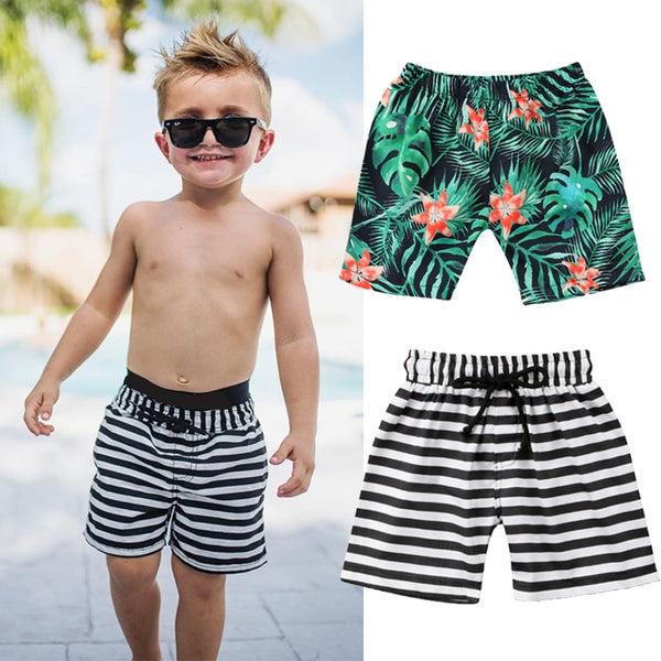 Toddler Kids Boy Striped Shorts Beach Swimming Trunks - ChildAngle