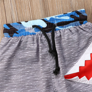 Boys Blue Camo Shark Pattern Swimming Trunks - ChildAngle