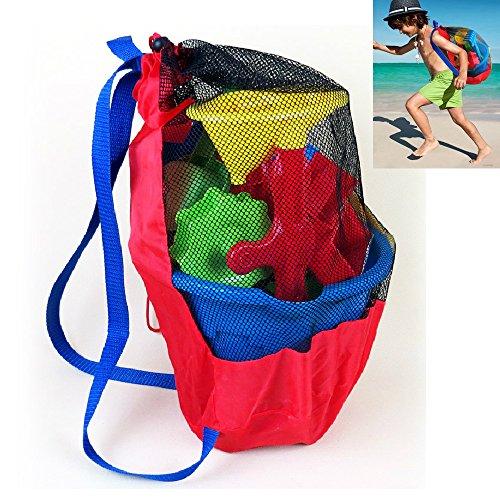 Beach Toys Organizer Mesh Backpack for Sand Toy Storage Large Capacity