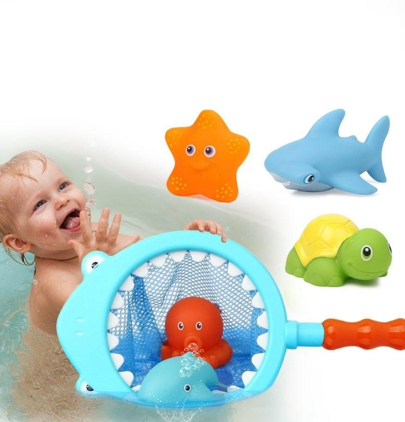 7 PCS Bath Toys for 3 Year Olds Children Water Toys Soft Rubber Shark Sea Animals - ChildAngle
