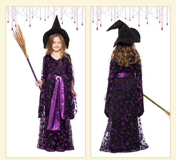 Purple Stars Moons Magic Witch Costume Kids Halloween Party