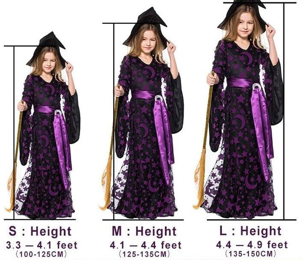 Witch Dress Purple Halloween Costume for Kids