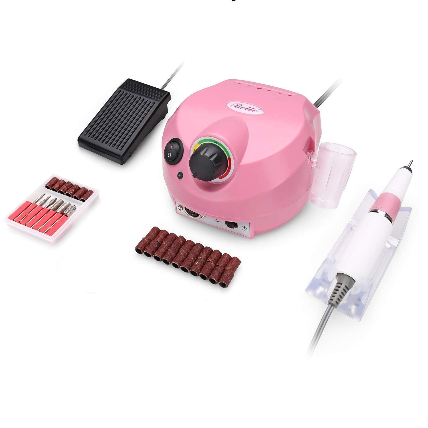 Belle Professional 30000RPM Nail Drill Machine Electric Nail File E File Nail Drill Set (110V,Pink)