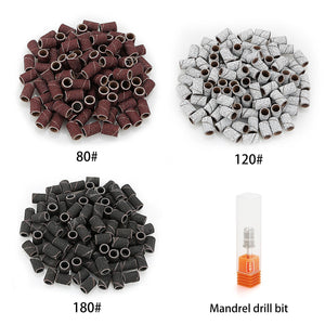 Belle 300pcs Sanding Bands Grit File For Nail Manicure Drill 3 colors(80# 120# 180# each 100pcs)