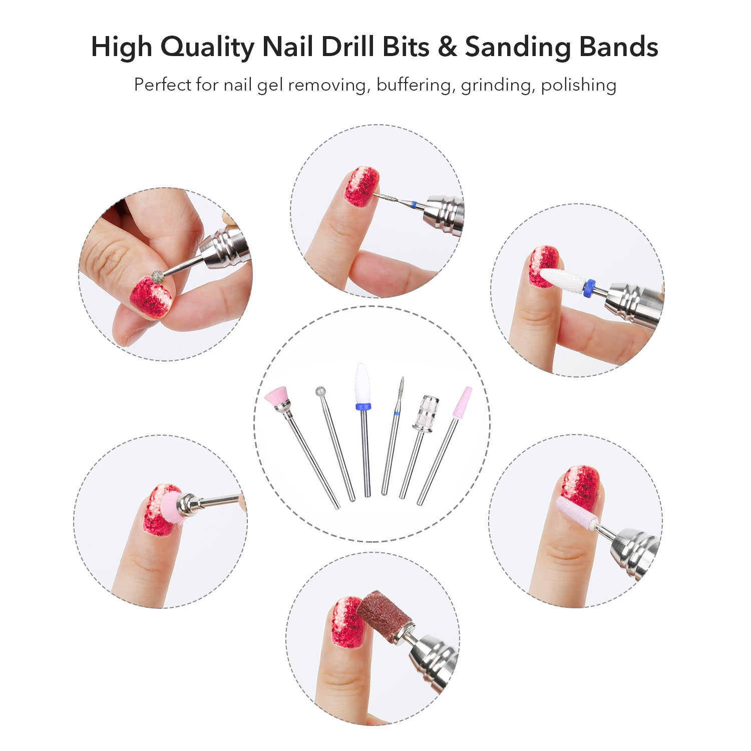 Belle 35000RPM Nail Drill Electric Brushless Efile Manicure Pedicure Drill with Portable Bag, White