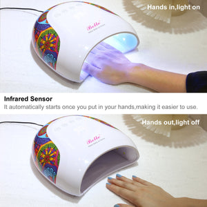 Belle 48W LED/UV Nail Lamp with Sensor and 4 Timer,Nail Dryer Lamp with Colorful Tribal Prints look