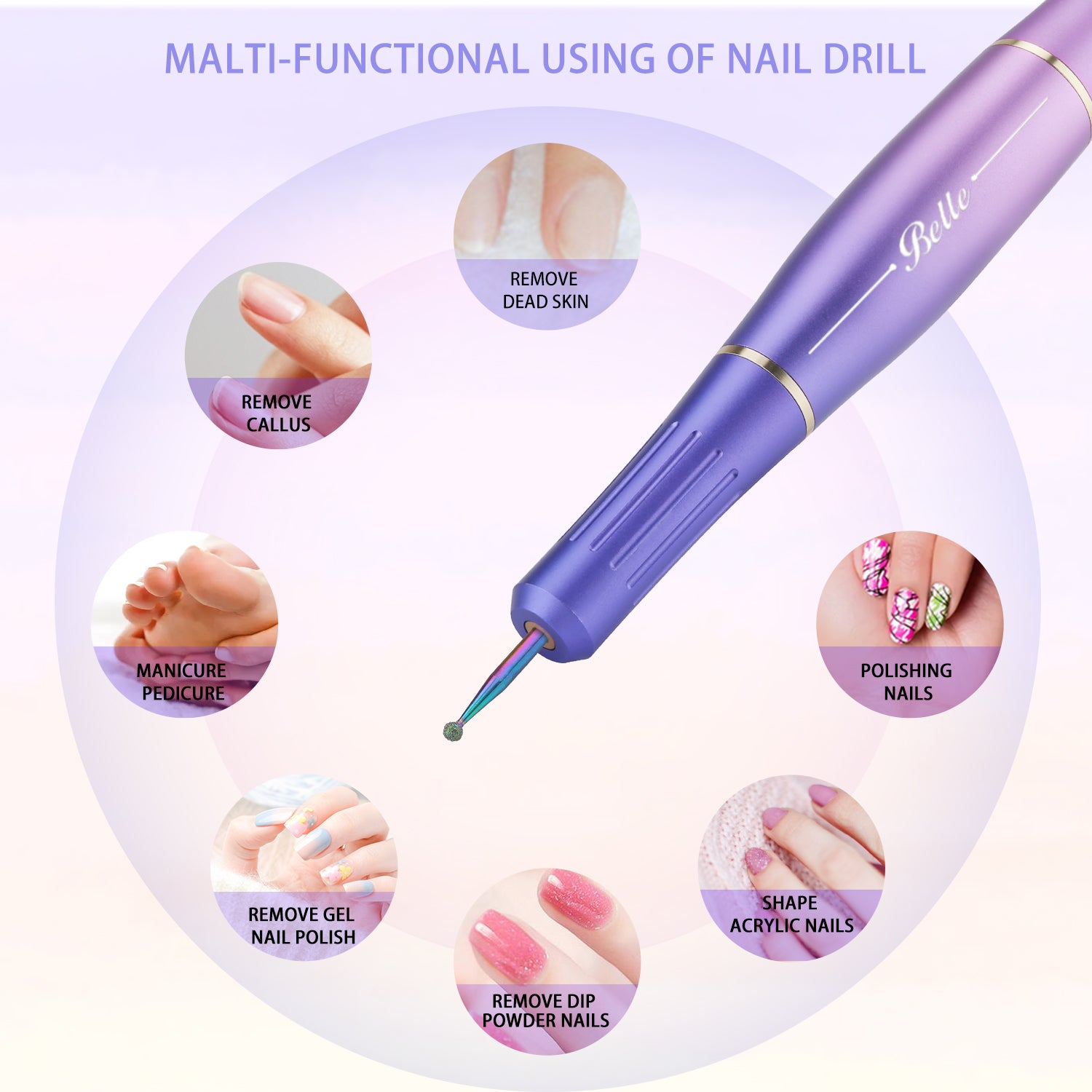 Electric Nail Drill Kit, Belle Sunglow Portable USB Manicure Pedicure E-file Set for Acrylic Gel Nails, Polishing Shape Tools with 6 Nail Drill Bits, 20 Sanding Bands, Nail Brush, Acrylic Nail Clipper