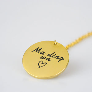 "Ma ding wa - Collier disque inscription ""Je t'aime"" (Cameroun)"