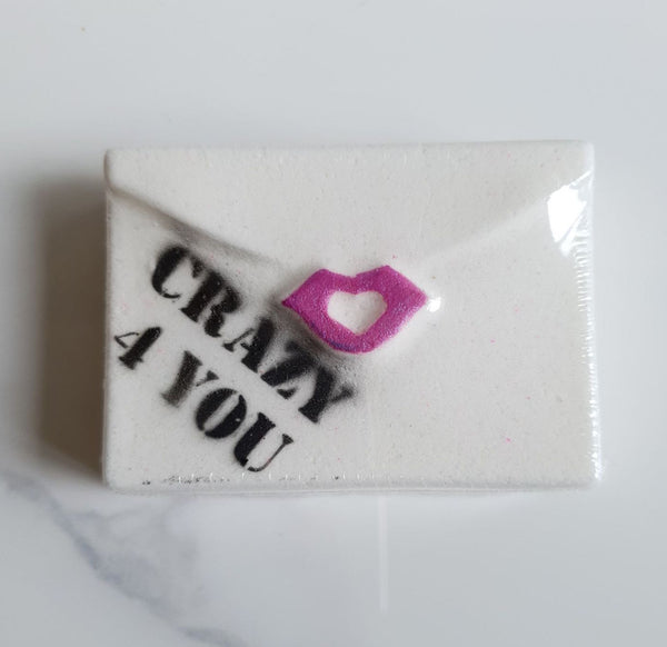 Crazy 4 You Love Letter Bath Bombs - Sherbet Bomb - Addicted to Bath Bombs