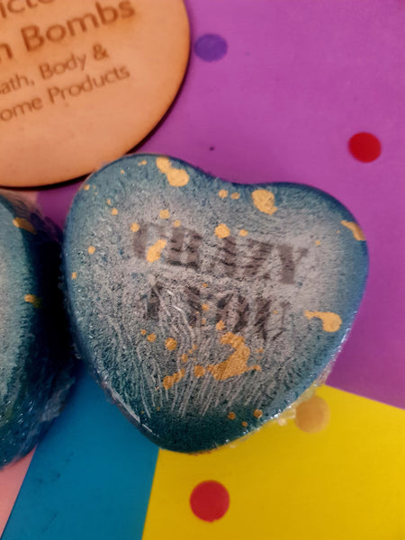 Heart Message Crazy 4 You Blue Love Heart - Pink Sugar Scent Valentine's Special Release - Addicted to Bath Bombs