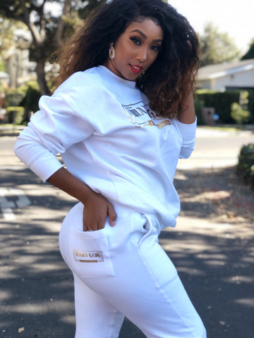 PRE-ORDER White Mama Gang crew neck and jogger sweatset