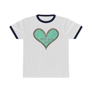 (b) Made With Love Green Heart Unisex Ringer Tee